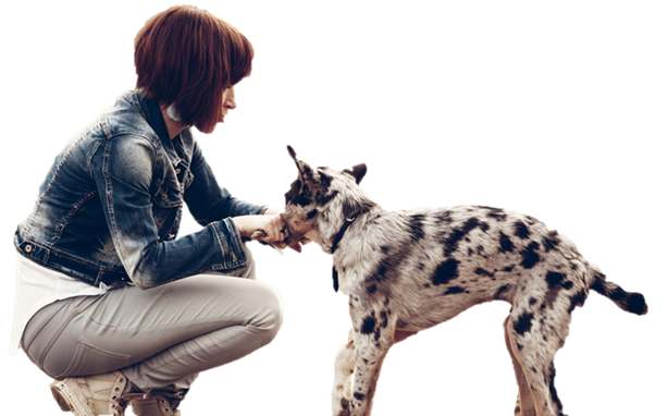 Woman & Dog 1A